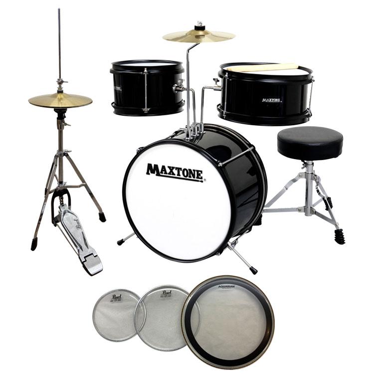 【送料無料】MAXTONE MX-60 BLK(ブラック) ジュニア(キッズ)ドラムセット (ハイハットセット+交換用ヘッド付き)