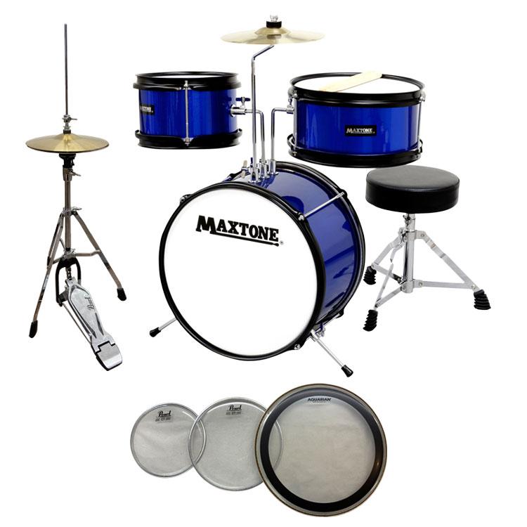 【送料無料】MAXTONE MX-60 BLU(ブルー) ジュニア(キッズ)ドラムセット (ハイハットセット+交換用ヘッド付き)