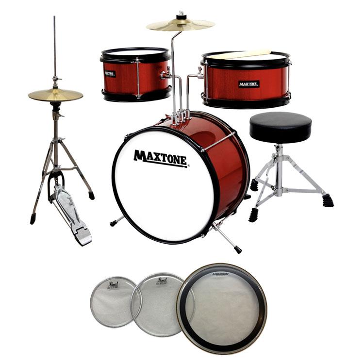 【送料無料】MAXTONE MX-60 RED(レッド) ジュニア(キッズ)ドラムセット (ハイハットセット+交換用ヘッド付き)