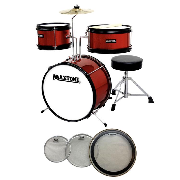 【送料無料】MAXTONE MX-60 RED(レッド) ジュニア(キッズ)ドラム 交換用ヘッド付きセット