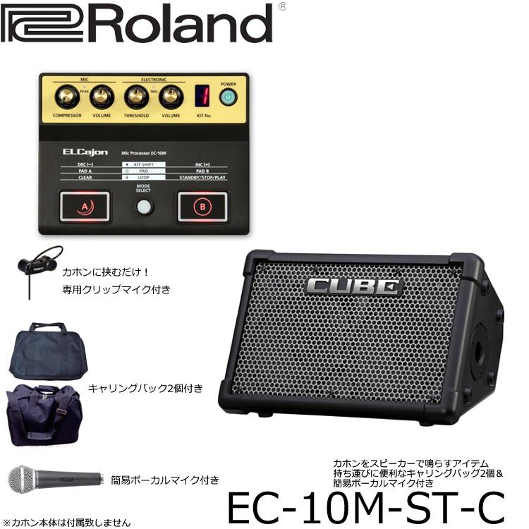 【送料無料】Roland(ローランド)EC-10M カホン用マイクプリアンプ&CUBE-streetアンプセット(ケース&マイク付き)アコースティックライブに最適!カホンマイク付き(クリップマイク・PAへも繋げる)EC-10M-ST-C