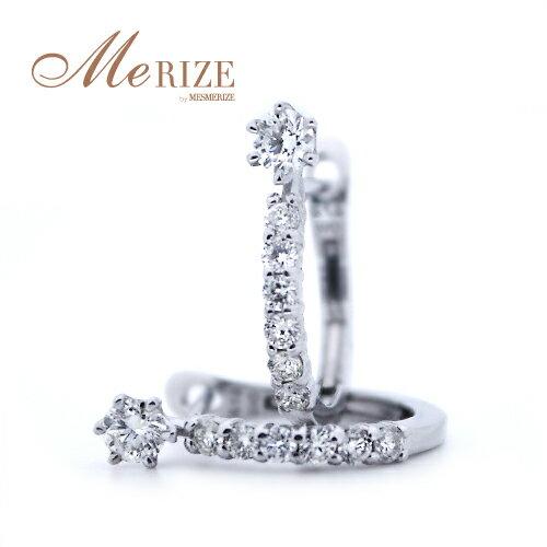 K18 天然ダイヤ 中折れ バネ式 フープ ピアス - 計 0.32ct の SIクラス ダイヤモンド 、上質な 18金 ゴールド を贅沢に使用。お顔周りに美しく輝く光が女性らしさをさらに昇華。デイリーからパーティーシーンまで幅広く対応。