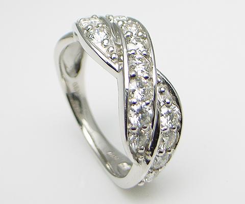 K18 天然 ダイヤ 1.0ct ゴールド クロス リング 指輪 レディース SIクラス ダイヤモンド 1カラット 15石 天然石 18金 ホワイト イエロー ピンク プレゼント YG WG PG 品質保証書付