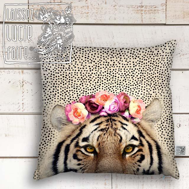 【トラ アニマルクッションカバー 角形正方形 約45×45cm 綿コットン】フランス製ブランド レッセリュシーフェール カワイイ動物がいっぱい!とら虎タイガー レディース クッションカバー かわいい可愛い おしゃれ