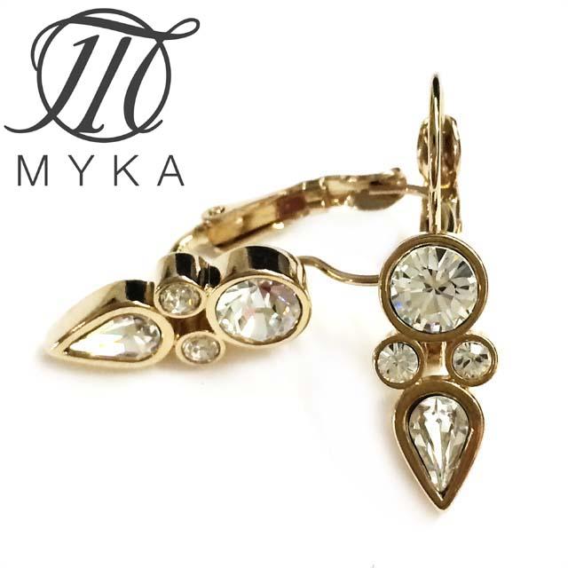 マイカ Myka アンティーク調 ピアス アクセサリー インポート クリヤー スワロフスキークリスタル 真鍮 ブライトゴールド マルチカラー