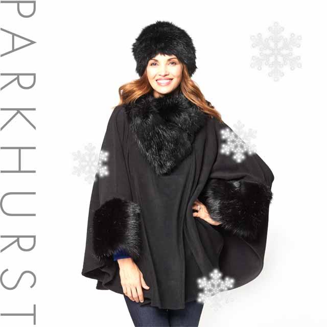 【送料無料】寒い北の国・カナダから軽くて暖かいゴージャスなブラックファー付きケープが届きました。カナダ老舗レディース帽子ブランド・パークハースト