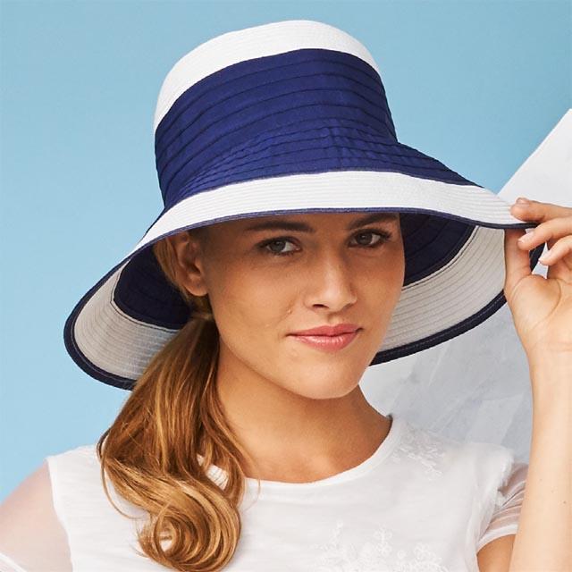 レディース つば広 ストローハット 被りが深め 春夏用 ツートン 2色 ブルー ネイビー ホワイト ナチュラル ブラック 女性 カナダ老舗 レディース帽子 ブランド パークハースト インポート レディース 帽子10P03Dec16
