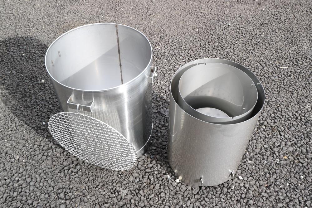 ステンレス製 七輪 バーベキューコンロ ペール缶サイズ BBQ 頑丈(ステンレス缶セット)