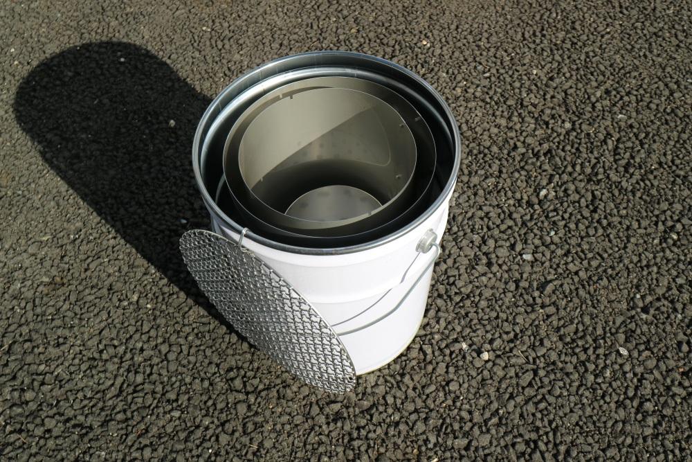 ステンレス製 七輪 バーベキューコンロ ペール缶サイズ BBQ 頑丈(市販ペール缶セット)