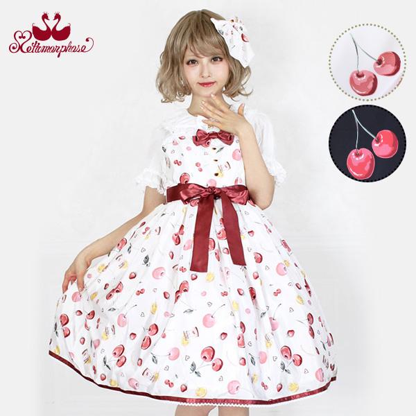 メタモルフォーゼ floating heart cherry リボン ジャンパースカート 【ロリータ ロリィタ クラロリ】