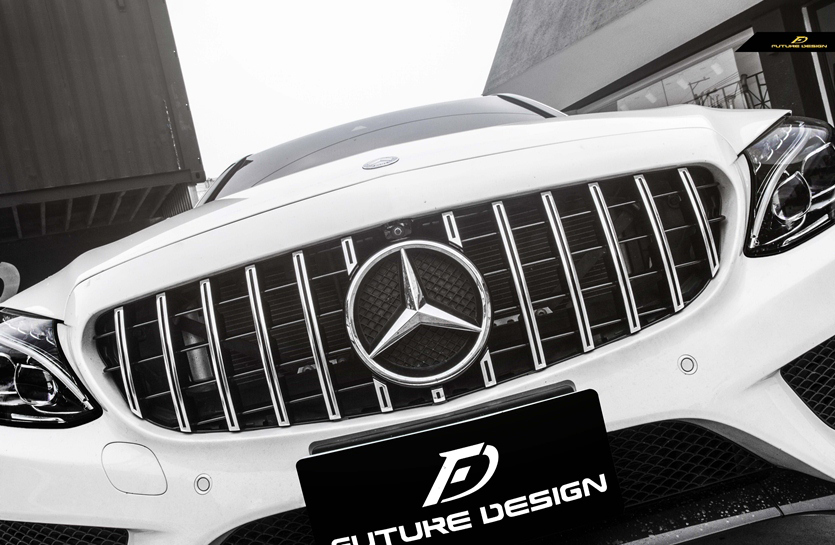 BENZ ベンツAMGパナメリカーナグリル W205 ブランド激安セール会場 送料無料/新品 S205 C205 Cクラス用AMG GTRタイプ C43 C250 C45 シルバーグリル C180 C200