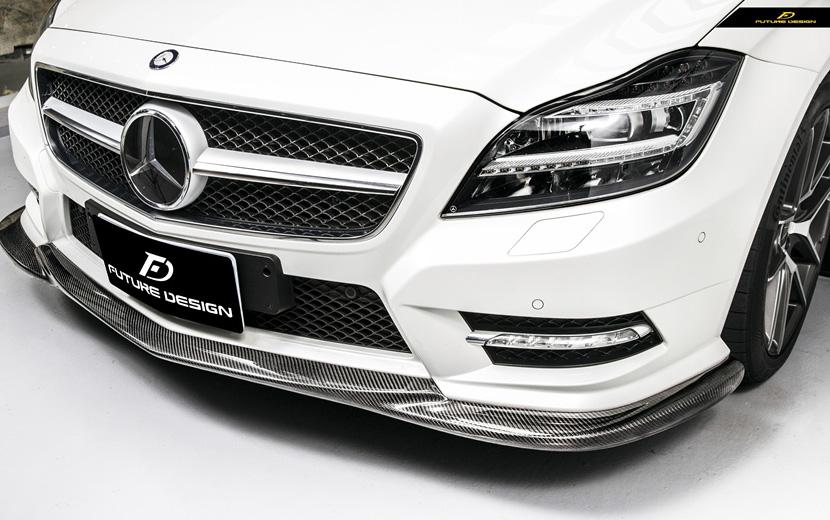 BENZ ベンツ CLS W218 AMGフロントバンパー用 カーボンリップスポイラー 本物Dry Carbon ドライカーボン
