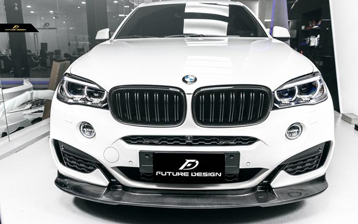 BMW X6 F16 Mスポーツ フロントバンパー用 カーボン リップスポイラー DryCarbon 本物ドライカーボン パフォーマンス DD スポイラー