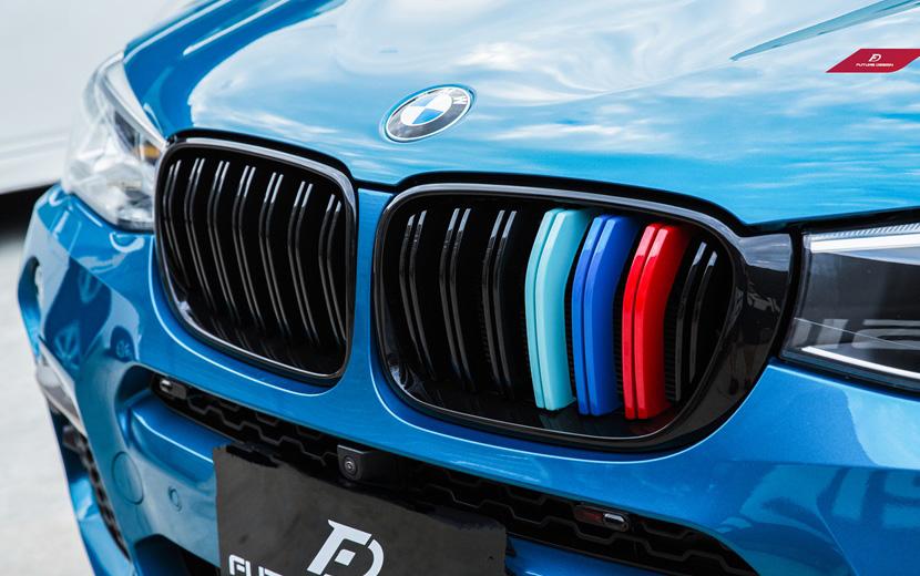 在庫一掃 BMW Xシリーズ X4 F26 後期 LCI センターグリル 青紺赤 Performance セール特価 style 2 フロント用艶ありブラックキドニーグリル