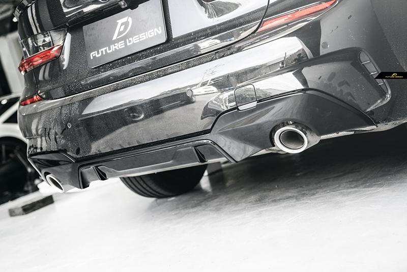 BMW 3シリーズ G20 G21 M-TECH Mスポーツ リアバンパー用ディフューザー パフォーマンス PF スタイル 艶あり黒 2本出し マフラー