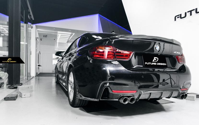 BMW 4シリーズ F32 F33 F36 Mスポーツ リアバンパー用カーボン リアバンパー リアスプリッター サイドスカート 本物DryCarbon ドライカーボン M-TECH FDGT