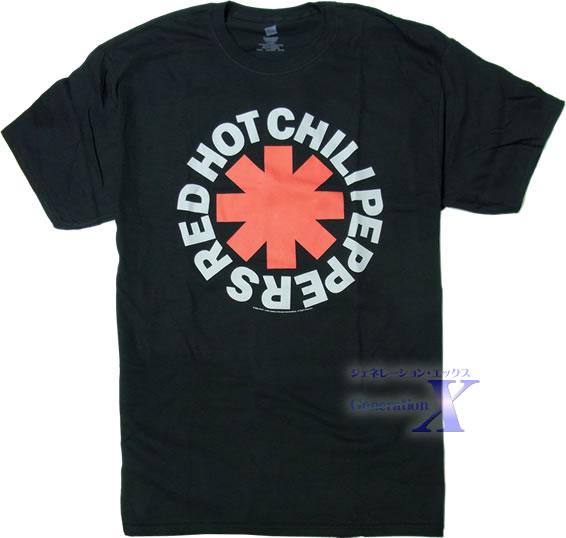 人気のロゴが大きく入った 人気商品 レッド ホット チリペッパーズ 完売 オフィシャル製品 ブラック メンズTシャツ
