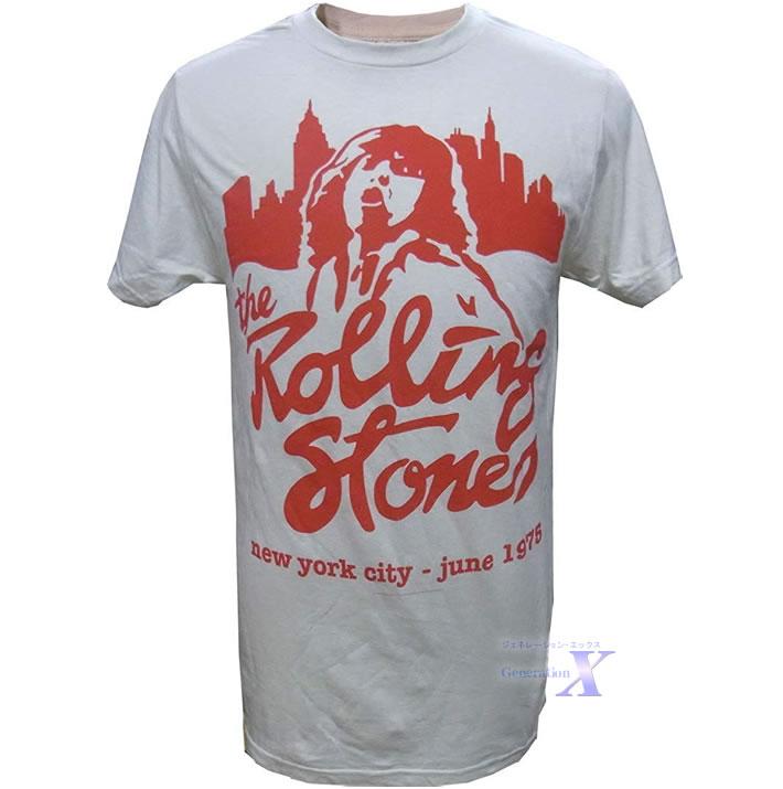 スーパーセール期間限定 1975年USAツアーTシャツです 安い 激安 プチプラ 高品質 ローリングストーンズ オフィシャルTシャツ メンズ クリーム