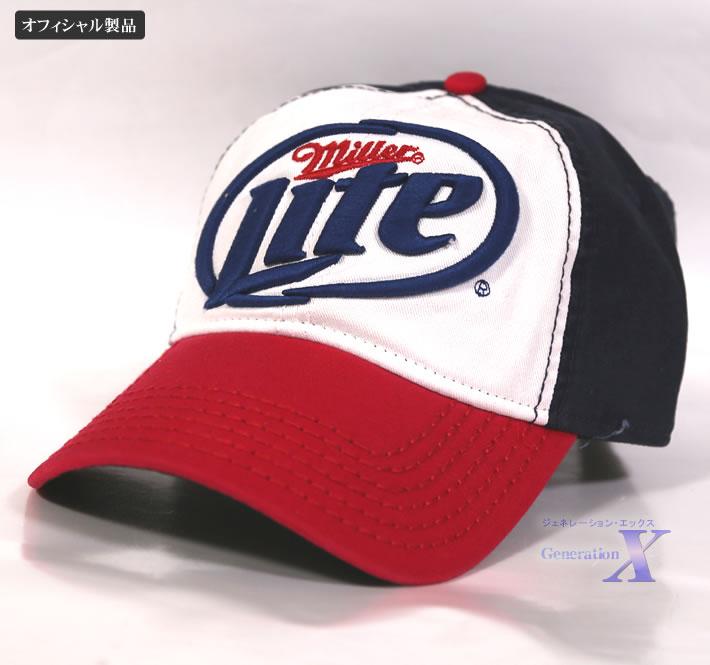 Miller lite ミラーライト・オフィシャル帽子 キャップ(ホワイトレッド)