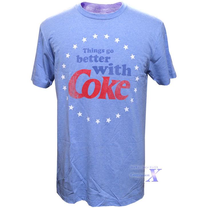 カッコいい 米国コカコーラ公式Tシャツ メンズ ライトブルー ●日本正規品● お気にいる