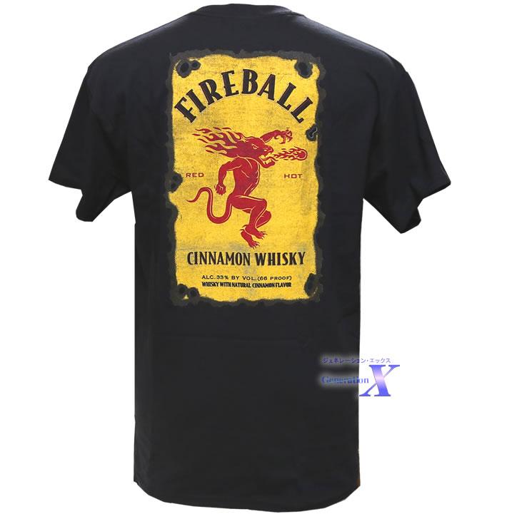 新品未使用正規品 激レアアイテム入荷 Fireball ファイヤーボールシナモン 購入 フロントポケット ウィスキー公式メンズTシャツ