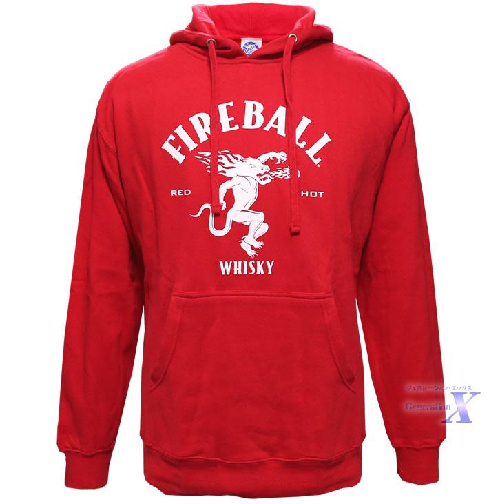 Fireball ファイヤーボールシナモン ウィスキー米国公式メンズパーカー(レッド)