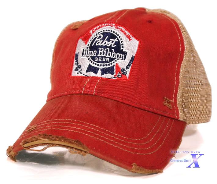 セレブが被る 人気ブランド多数対象 Pabst Blue 期間限定今なら送料無料 Ribbon パブスト ブルーリボン メッシュ ダメージ加工 ビール米国公式帽子 キャップ レッド