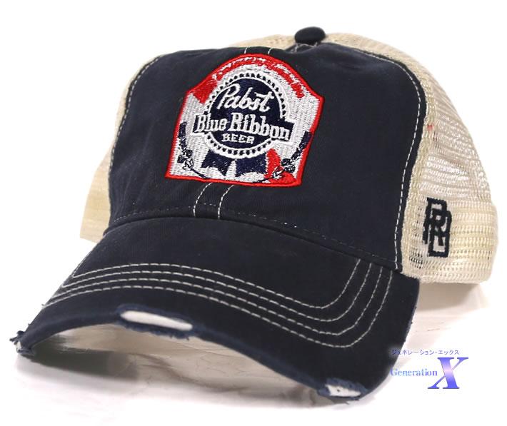 セレブが被る 新作製品、世界最高品質人気! Pabst Blue Ribbon パブスト ブルーリボン キャップ ネイビー 最新アイテム ダメージ加工 レトロブランド製 ビール米国公式帽子 メッシュ