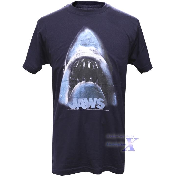 クラッシックなテイスト満点 1着でも送料無料 ジョーズ Jaws ロゴ ネイビー メンズ公式Tシャツ バーゲンセール