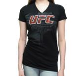 往復送料無料 カッコいい デザイン UFCレディースVネックTシャツ 限定品