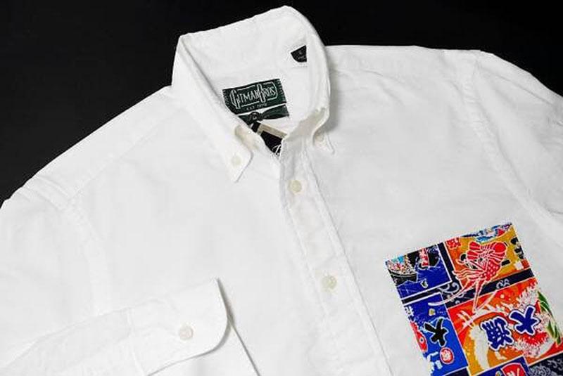 【新品】ギットマンブラザーズ オックスフォード ボタンダウンシャツ M 白 OX BD 大漁旗 和モダン