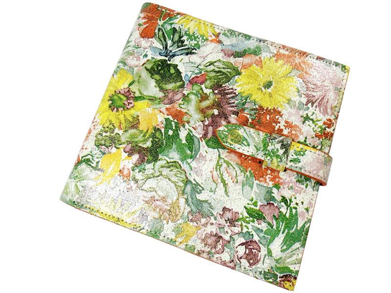 【新品】グレンロイヤル × リバティ 手帳カバー クオバディスカバー ロディアケース 花柄 緑 白 黄色 本革 レザー