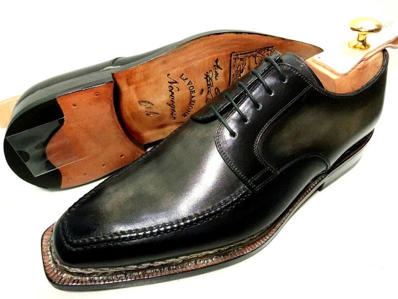 【新品】ナポリターノラケーレ 革靴 6 1/2 25.5cm 黒 ブラック系 ダービー ノルヴェイジャン製法 アンティーク加工