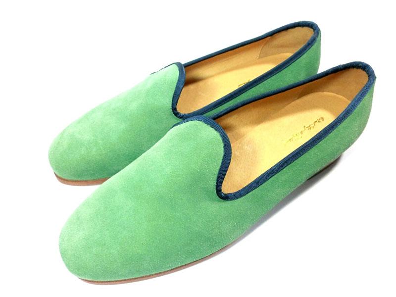 【新品】42nd ロイヤルハイランド スエード スリッポン 39 24.5~25cm グリーン ネイビー 緑 紺 スウェード