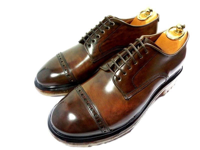 【新品】シルバノサセッティ 革靴 6 1/2 25.5cm ストレートチップ シガー ラバーフォンデュ / ポエル