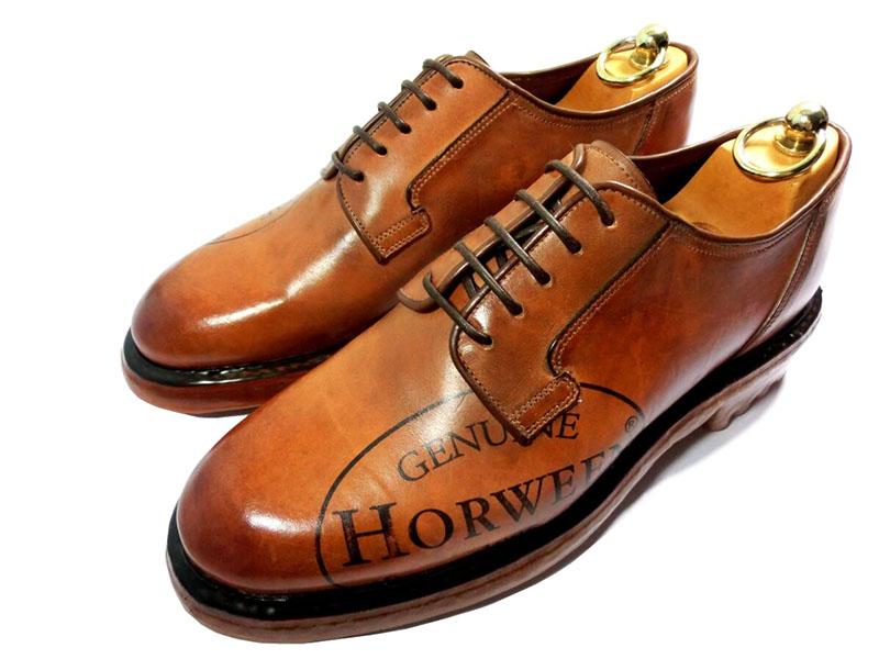 【新品】シルバノ サセッティ ホーウィン シェルコードバン 革靴 6 1/2 25.5cm プレーントゥ スタンプ