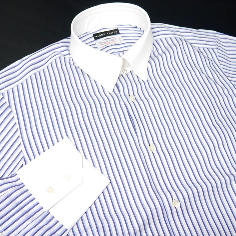 【新品】麻布テーラー×コトニフィーチョ・アルビーニ ドレスシャツ ストライプ ホワイト 白 ネイビー 紺 青 ブルー