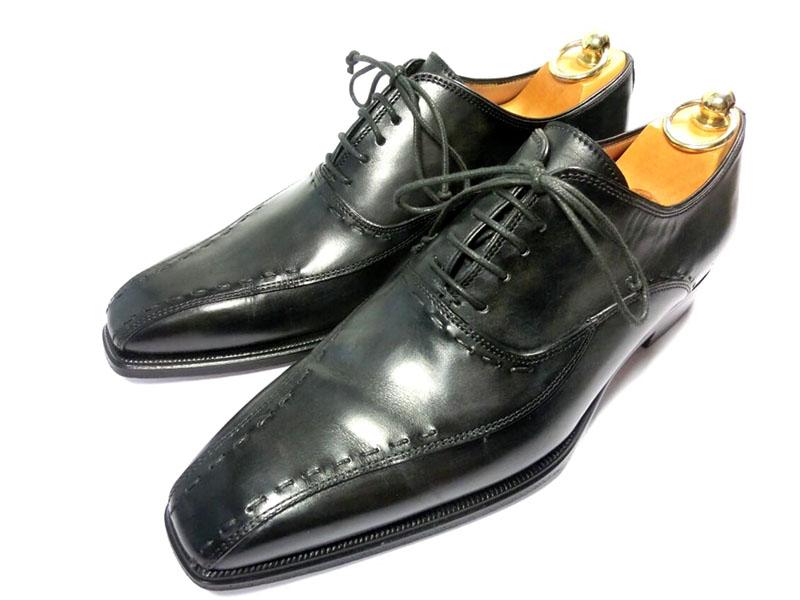 【中古】ステファノブランキーニ 革靴 7 25.5cm アンティークブラック ビジネスシューズ