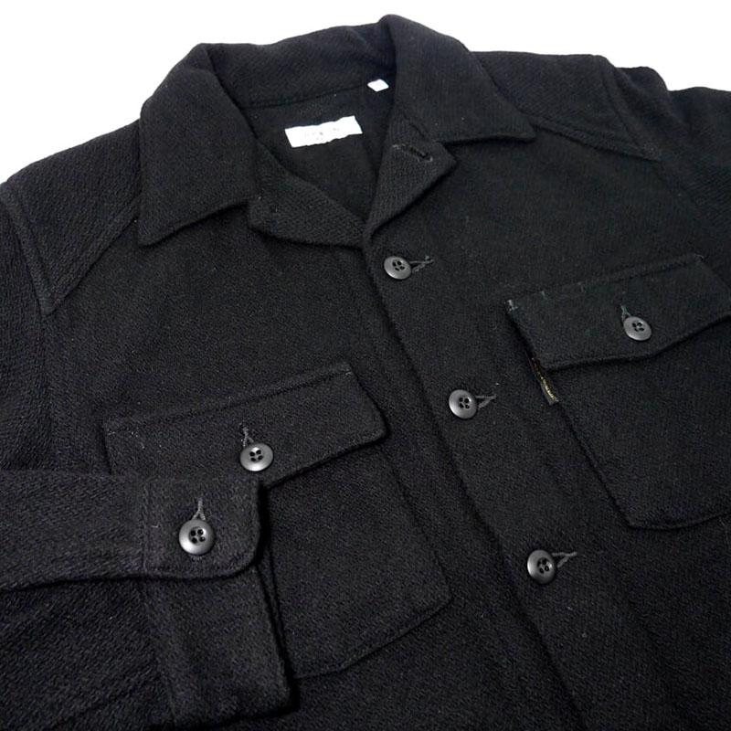 【新品】ハリウッドランチマーケット ウール混 ミリタリーシャツジャケット 2 M 黒 ブラック HRM ハリラン