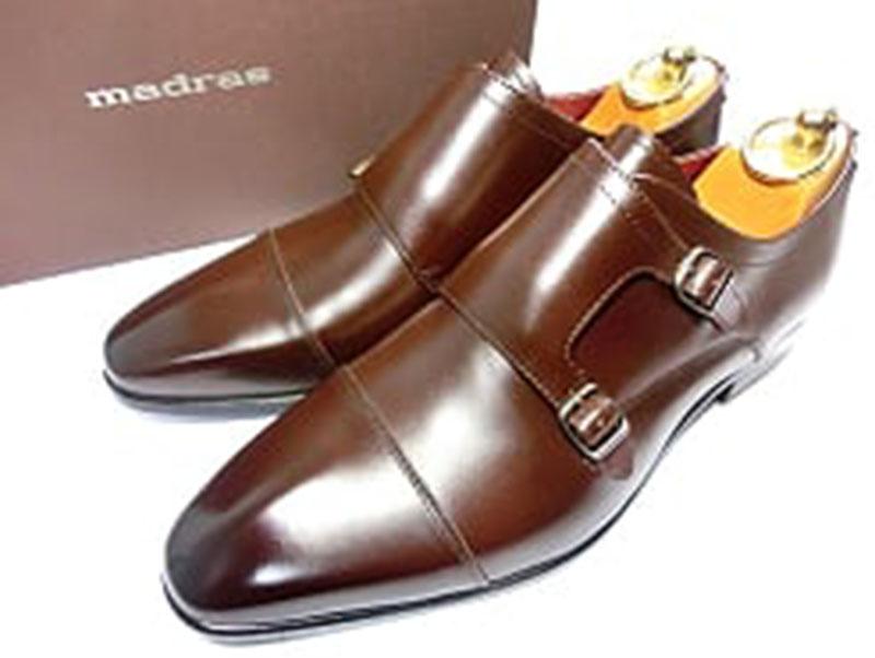 【新品】MADRAS マドラス ダブルモンク 革靴 25.0 EEE (25~25.5向け)焦げ茶 ダークブラウン ビジネスシューズ