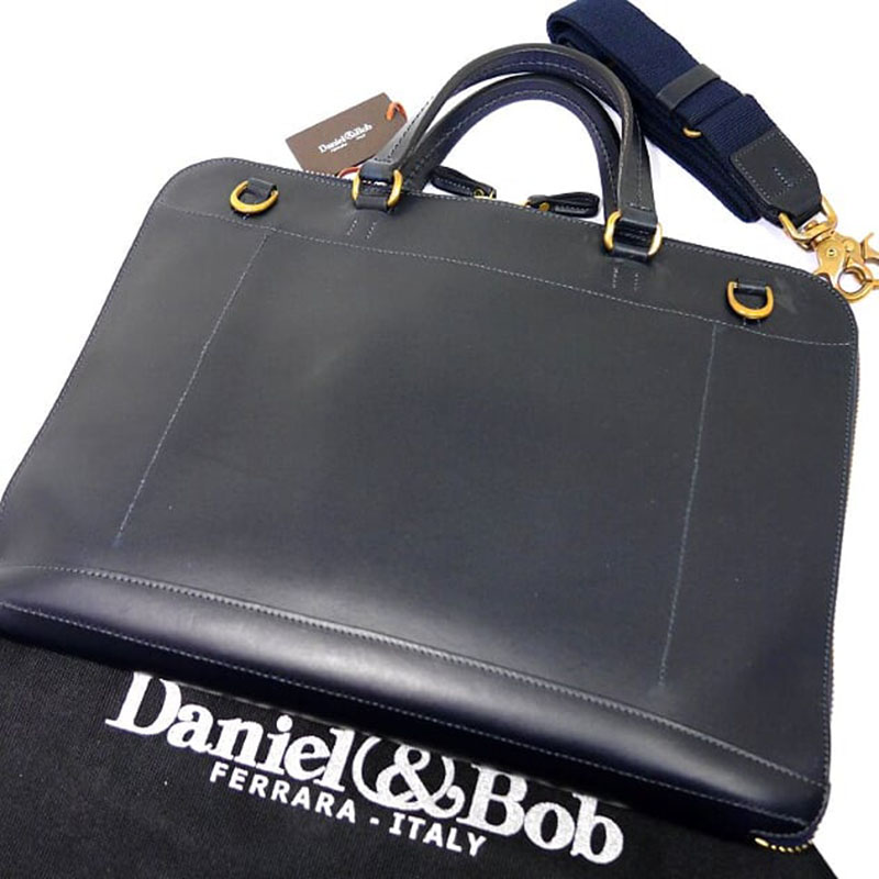 【新品】ダニエル&ボブ 2WAY ショルダー ブリーフケース CUOIO TAKU 紺 ネイビー Daniel&Bob ビジネスバッグ 書類鞄