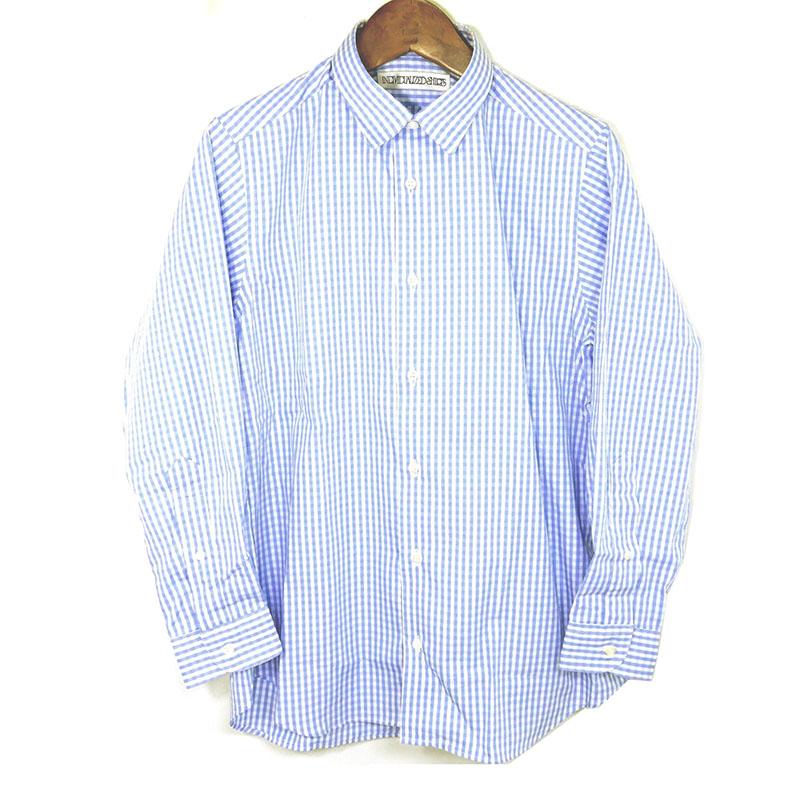 【新品】♀ インディビジュアライズドシャツ ギンガムチェック M相当 サックス 水色 白