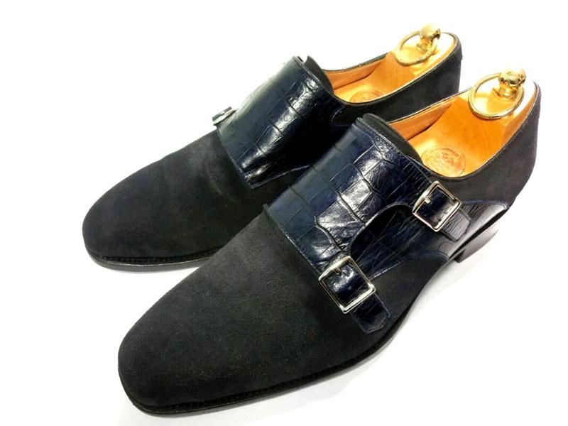 【中古】42nd ロイヤルハイランド 81/2 26.5 NAVYコレクション ダブルモンク 革靴 クロコ スエード