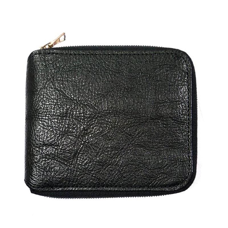 【新品】REN レン ラウンドジップ 二つ折り財布 小銭入れ付き 黒 ブラック 本革 レザー