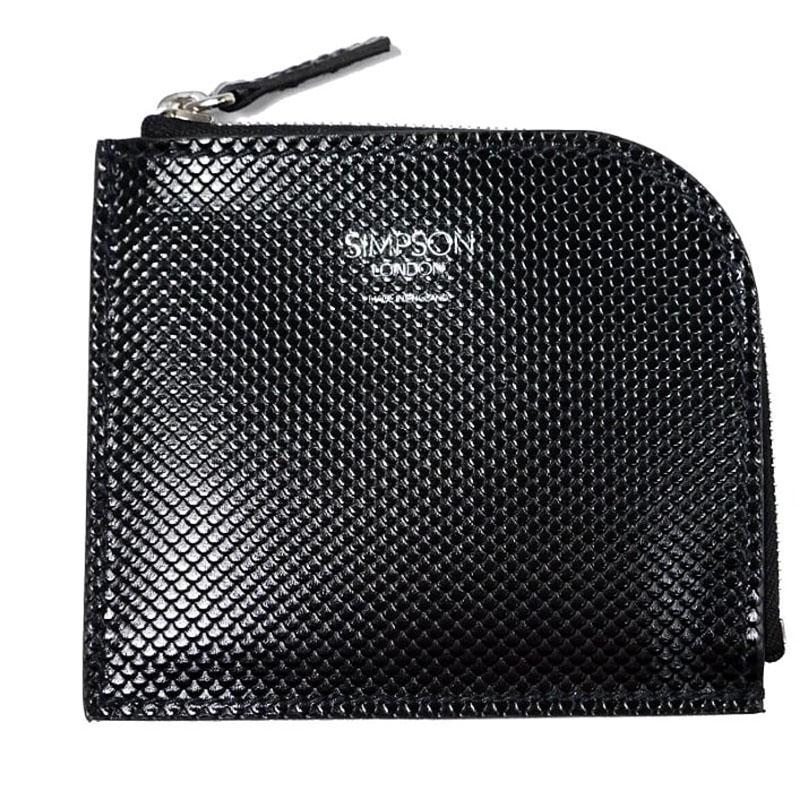 【新品】シンプソン ロンドン ミニ財布 カーボンレザー 黒 ブラック/ コインケース コインパース スモールウォレット