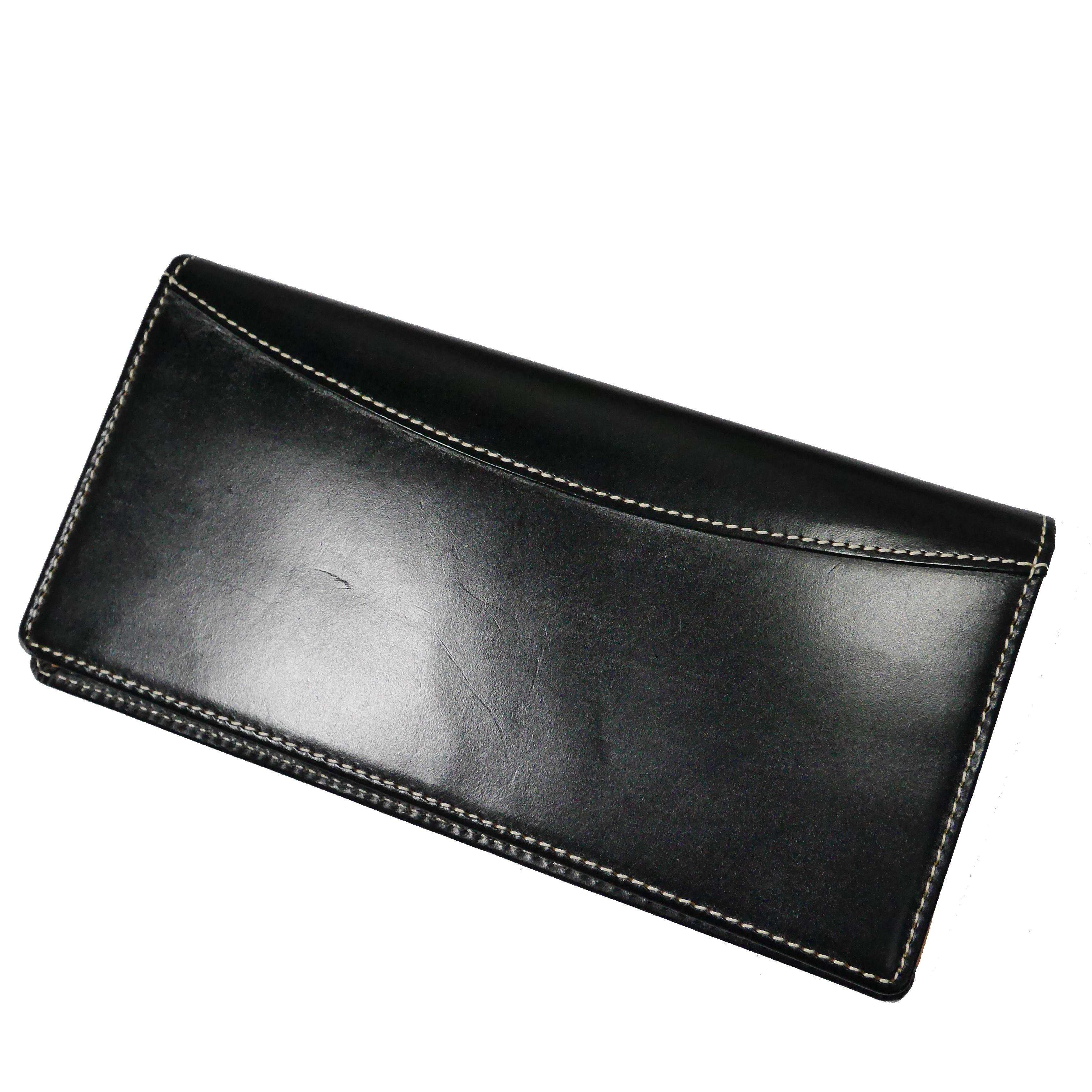ブリティッシュグリーン ブライドルレザー 長財布 小銭入れ付き 黒 ブラック