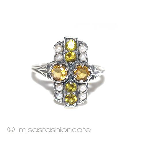 真珠&シトリン リング 指輪 パールスターリングシルバー刻印 Vintage・  【 アンティーク・ヴィンテージジュエリージュエリー 】