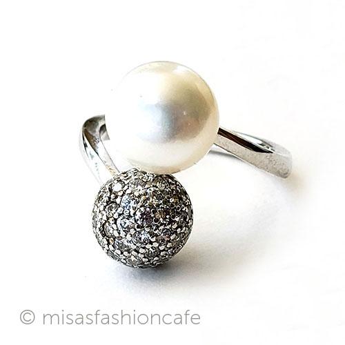 真珠パール トパーズ指輪 いつでも送料無料 スターリング刻印リング Vintage 海外直輸入USED品 推奨 ヴィンテージジュエリー アクセサリー