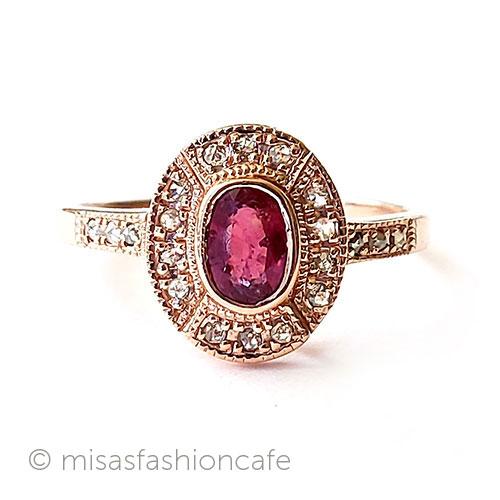 ヴィンテージリング 指輪 ルビー ダイヤモンド Vintage ヴィンテージジュエリー 海外直輸入USED品 10%OFF 25%OFF アンティーク アクセサリー