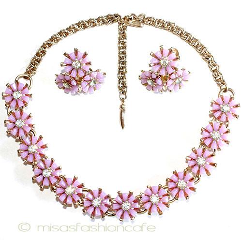 Coro コロ  ラインストーン お花 ネックレス&イヤリングのセット Vintage・ヴィンテージコスチュームジュエリー